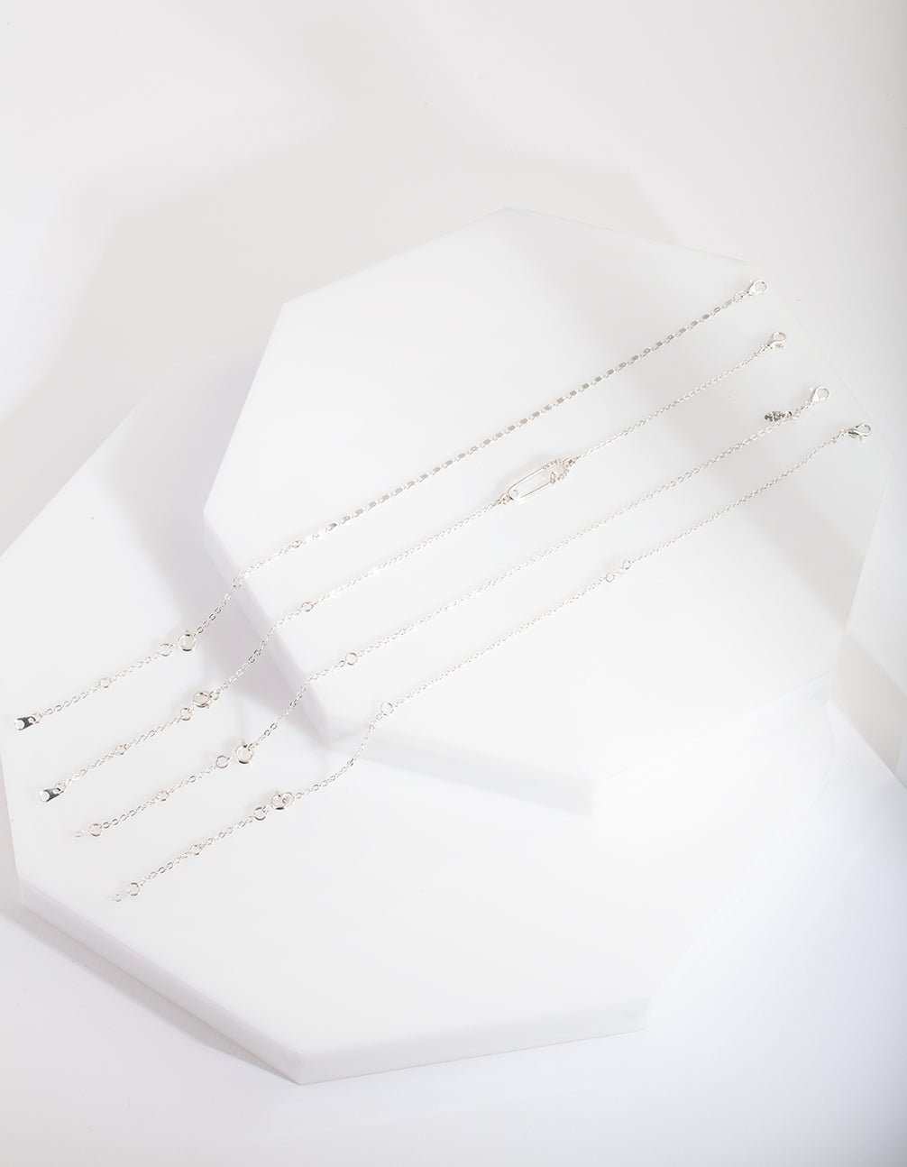 Silver Pin Diamante Anklet Bracelet Pack