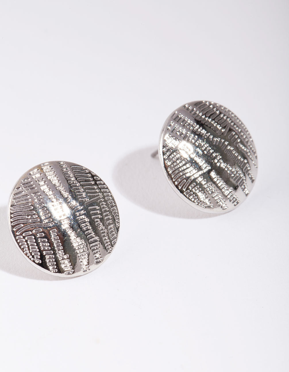 Rhodium Textured Lined Button Earrings