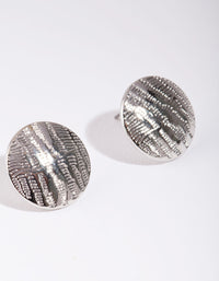 Rhodium Textured Lined Button Earrings - link has visual effect only