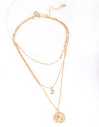 Gold Medallion Multi Layered Necklace - link has visual effect only