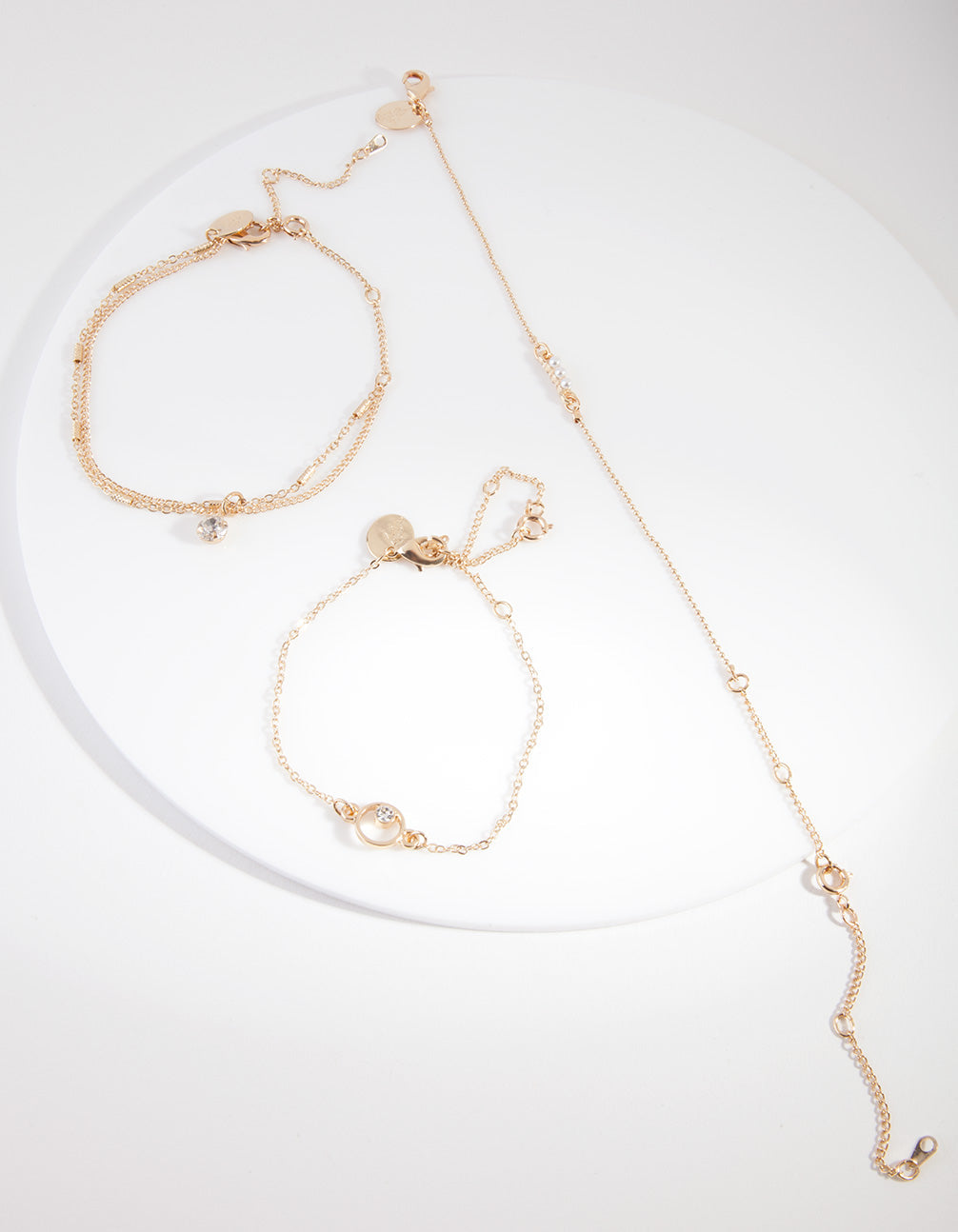 Gold Pearl Friendship Anklet Bracelet Pack
