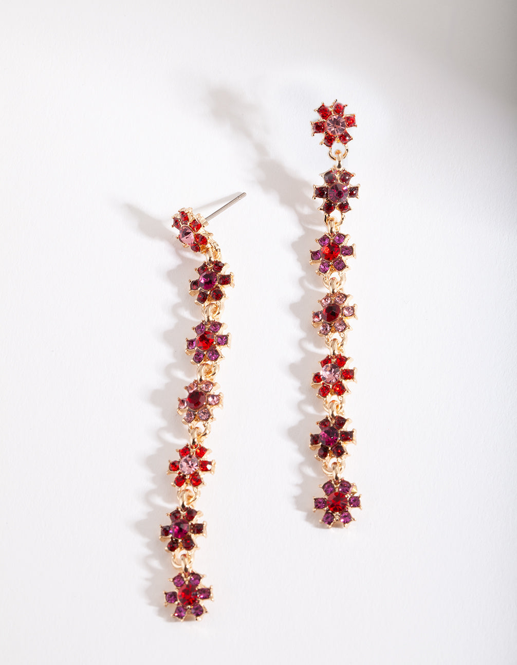 Red Daisy Chain Earring