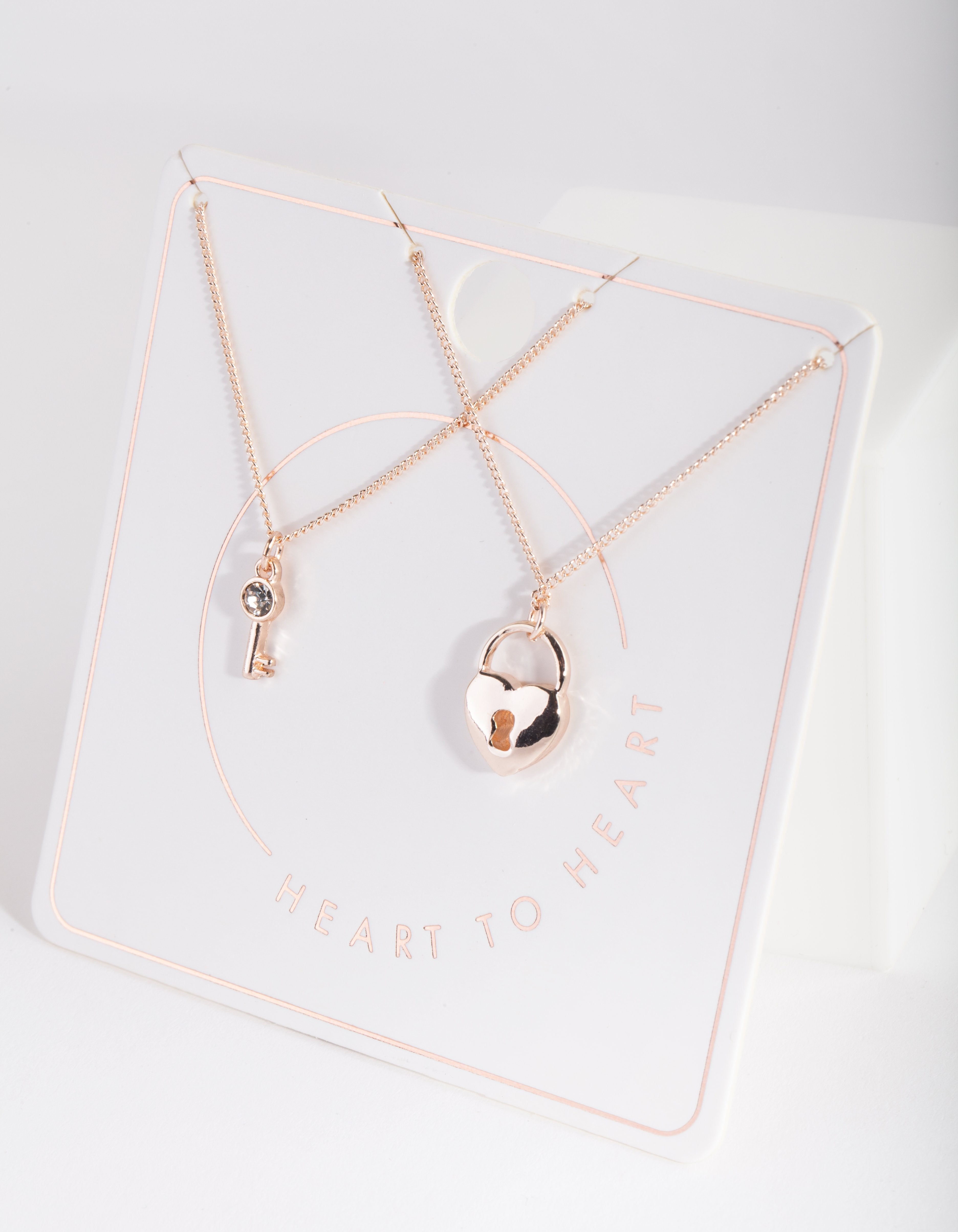 Rose Gold Lock Key Necklace Duo