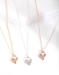 Mixed Metal Love Locks 3 Pack Necklace Set - link has visual effect only