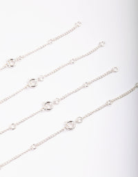 Silver Cubic Zirconia Anklet Bracelet Pack - link has visual effect only
