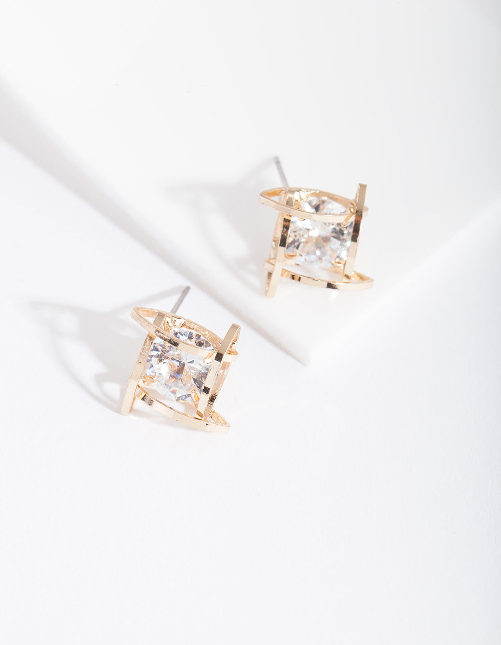Gold Cubic Zirconia Square Cage Earring