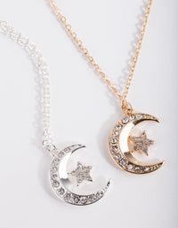 Mixed Metal Diamante Moon Necklace 2 Pack - link has visual effect only