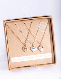 Mixed Metal 3 Pack Semi Precious Heart Necklace - link has visual effect only