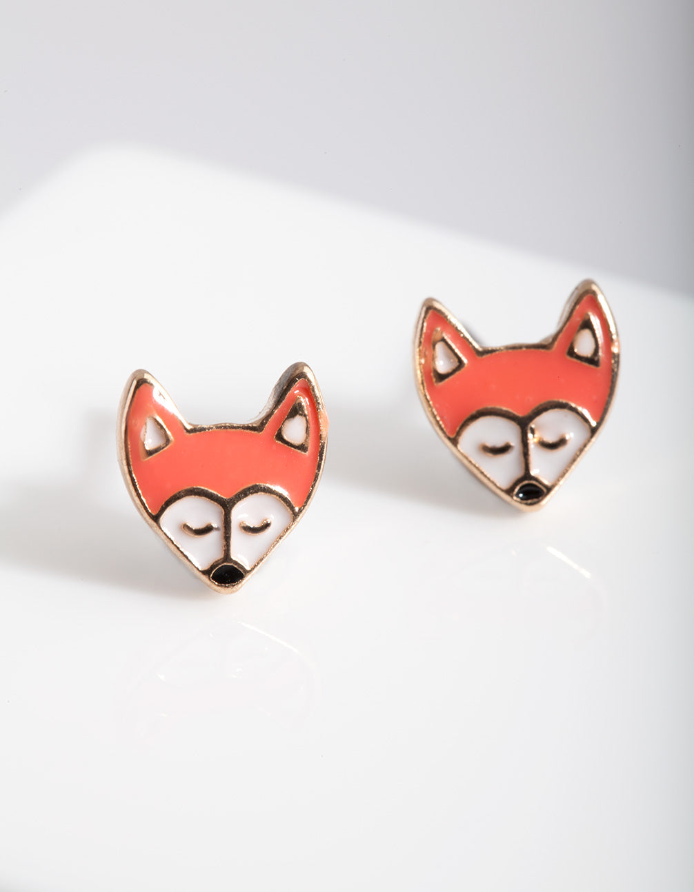 Kids Fox Enamel Stud Earring