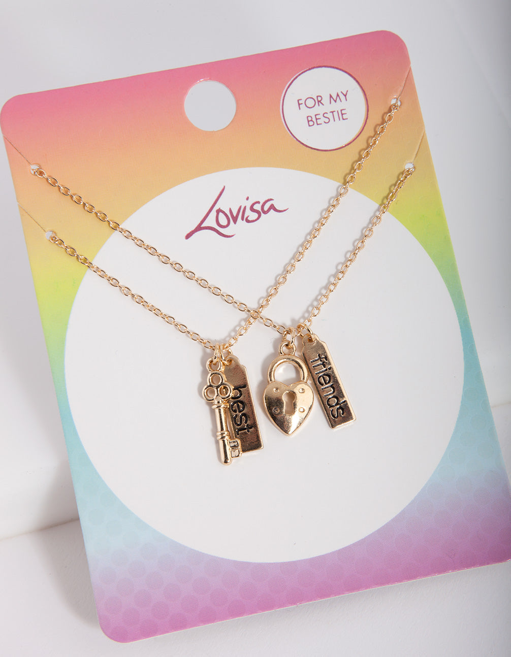 Kids Gold Lock and Key BF Necklace Set