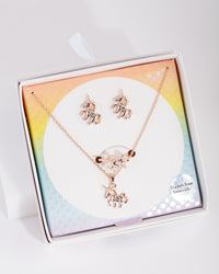 Kids Gold Swarovski Diamond Unicorn Set - link has visual effect only