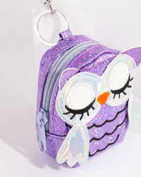 Kids Purple Iridescent Owl Purse Keyring - link has visual effect only