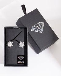 Diamond Simulant Elegant Flower Stud Earring - link has visual effect only