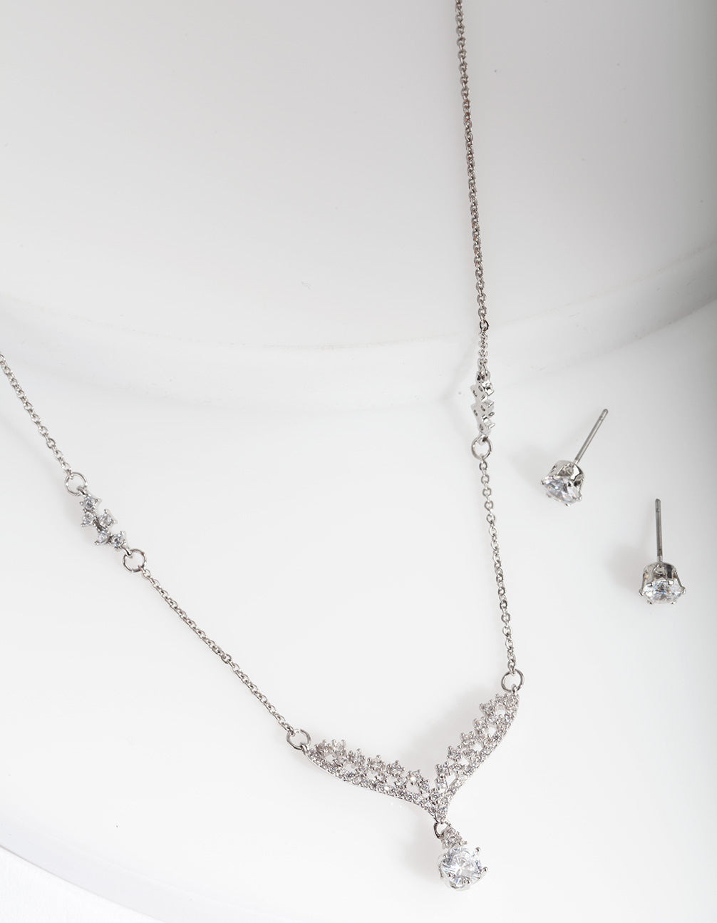 Rhodium Cubic Zironia Wing Earring Necklace Set