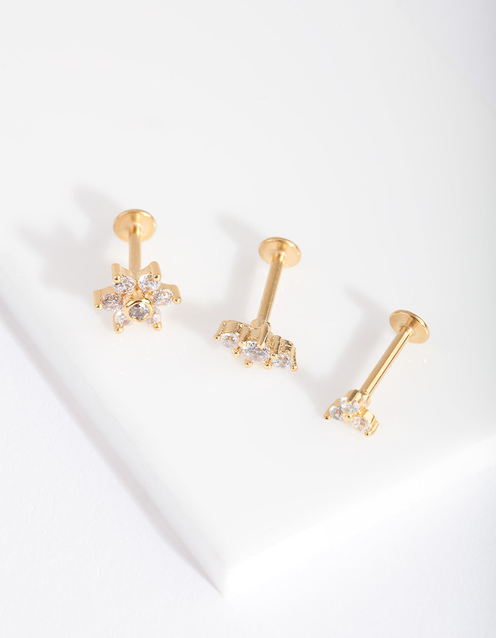 Gold Surgical Steel Flower Flat Back Earring 3 Pack