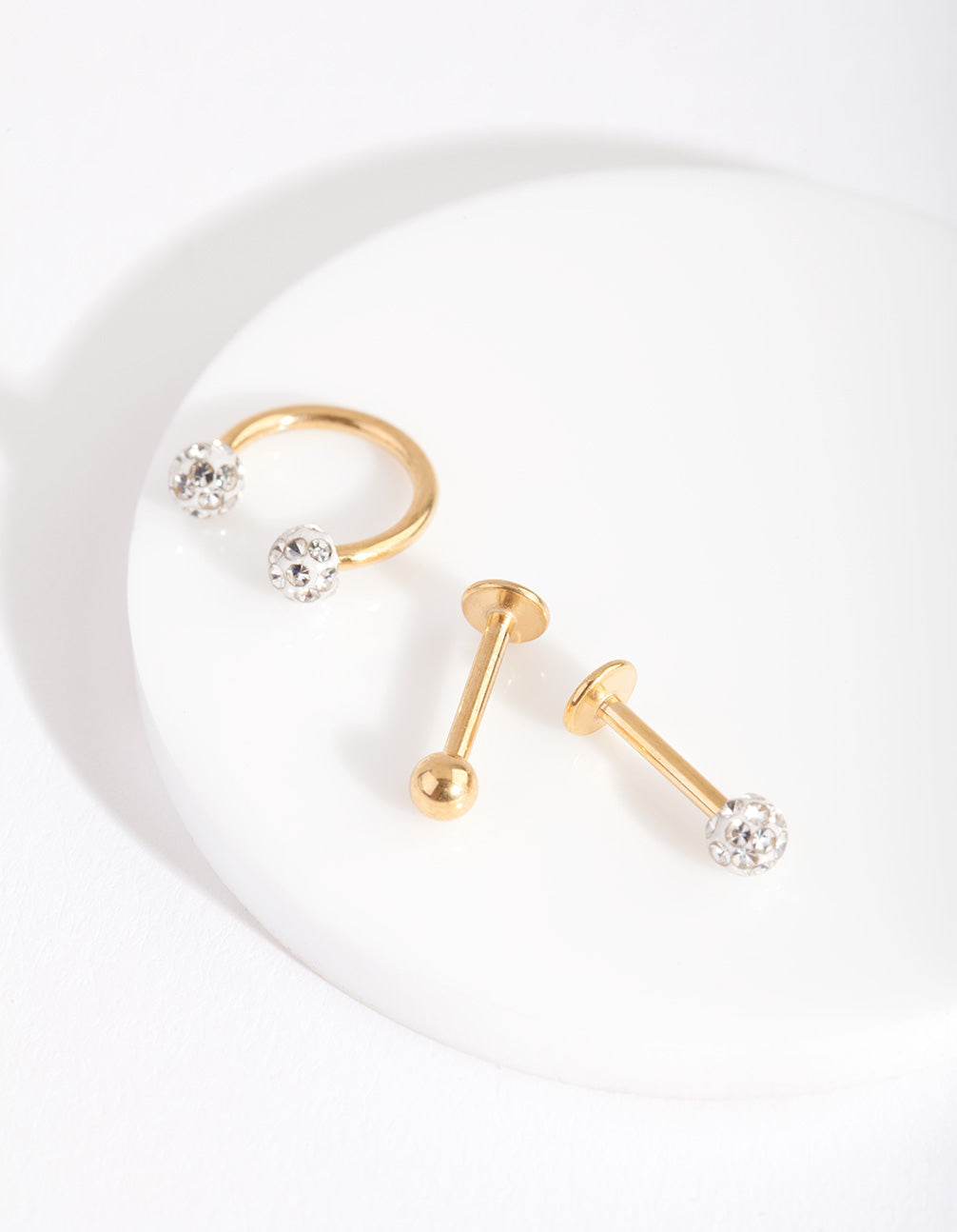 Gold Disco Ball Flat Back Earring 3 Pack