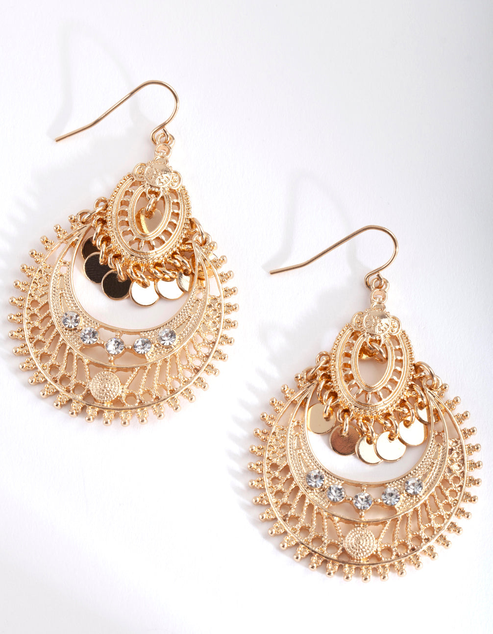 Mini Gold Diamante Disc Bohemian Earring