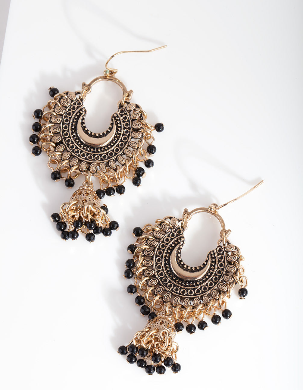 Mini Antique Gold Bead Tassel Drop Earring