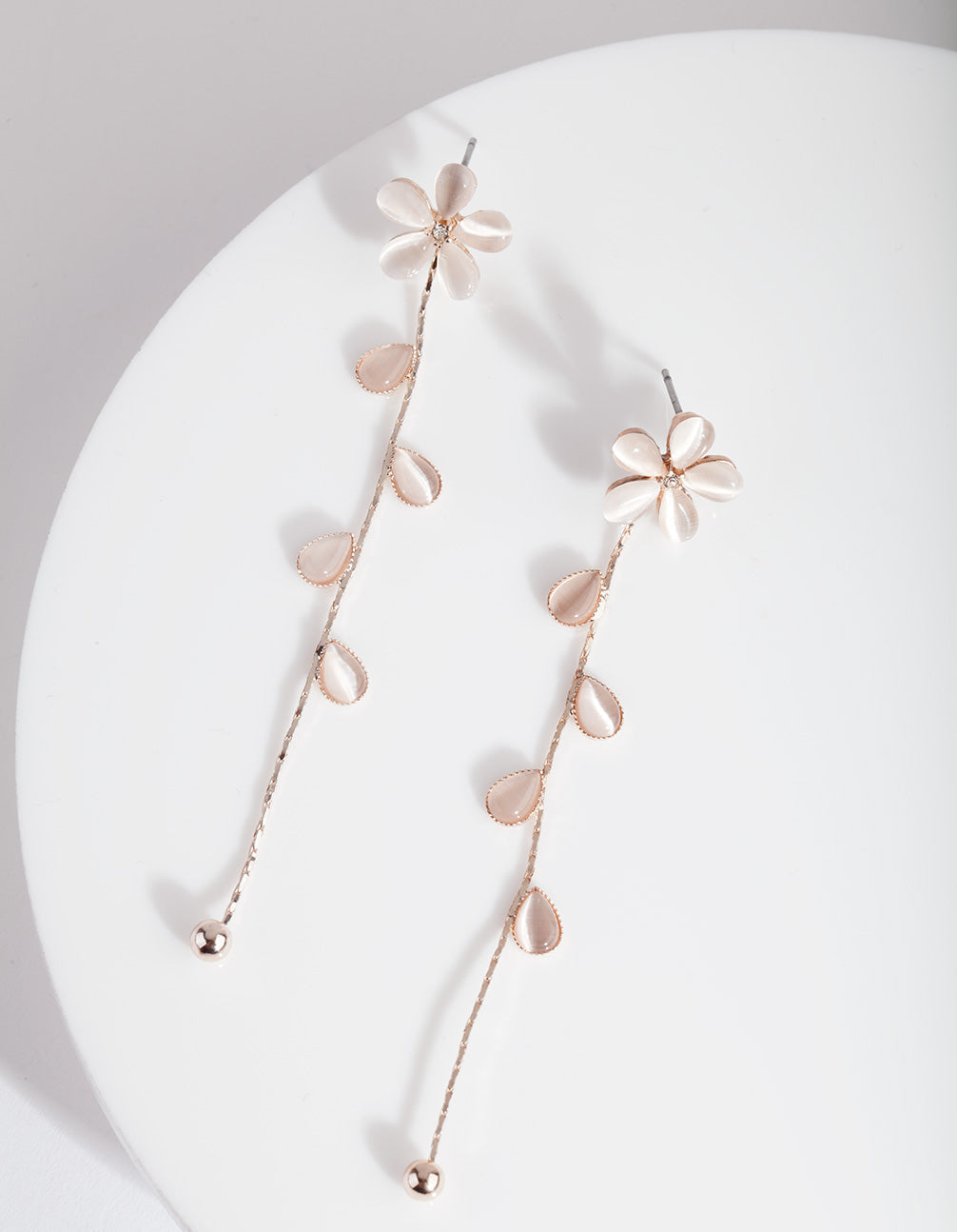 Rose Gold Flower Vine Drop Earrings