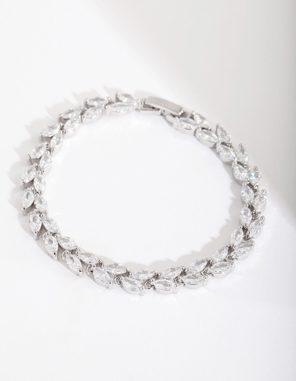 Rhodium Diamond Simulant Petal Row Bracelet