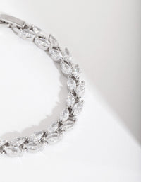 Rhodium Diamond Simulant Petal Row Bracelet - link has visual effect only