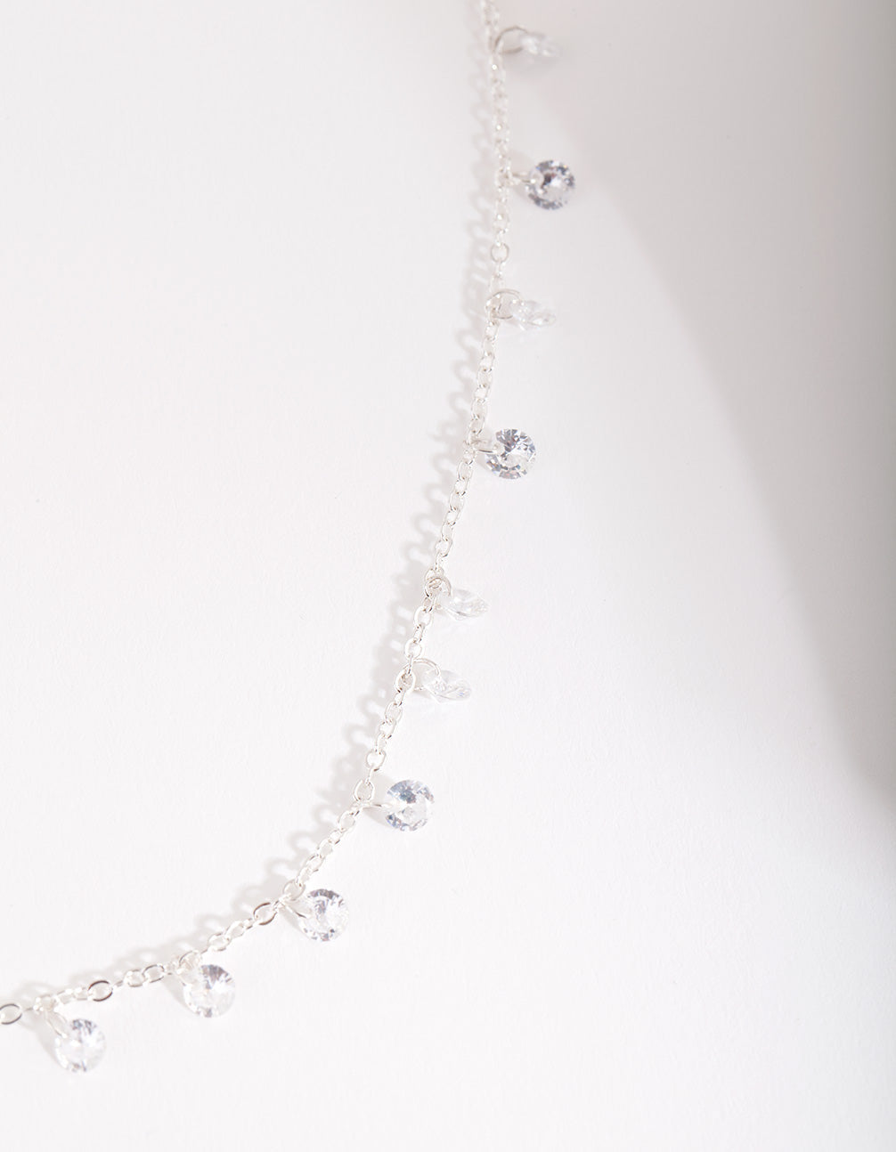 Silver Cubic Zirconia Multi Droplet Necklace