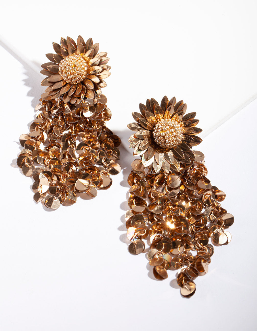 Mixed Metal Sequin Flower Earrings