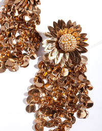 Mixed Metal Sequin Flower Earrings - link has visual effect only
