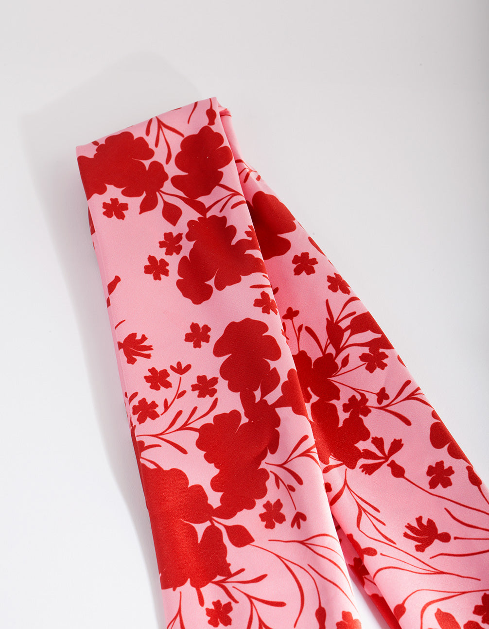 Red and Blush Floral Fabric Scarf