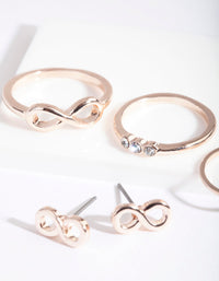 Rose Gold Infinity Earring Ring Set - link has visual effect only