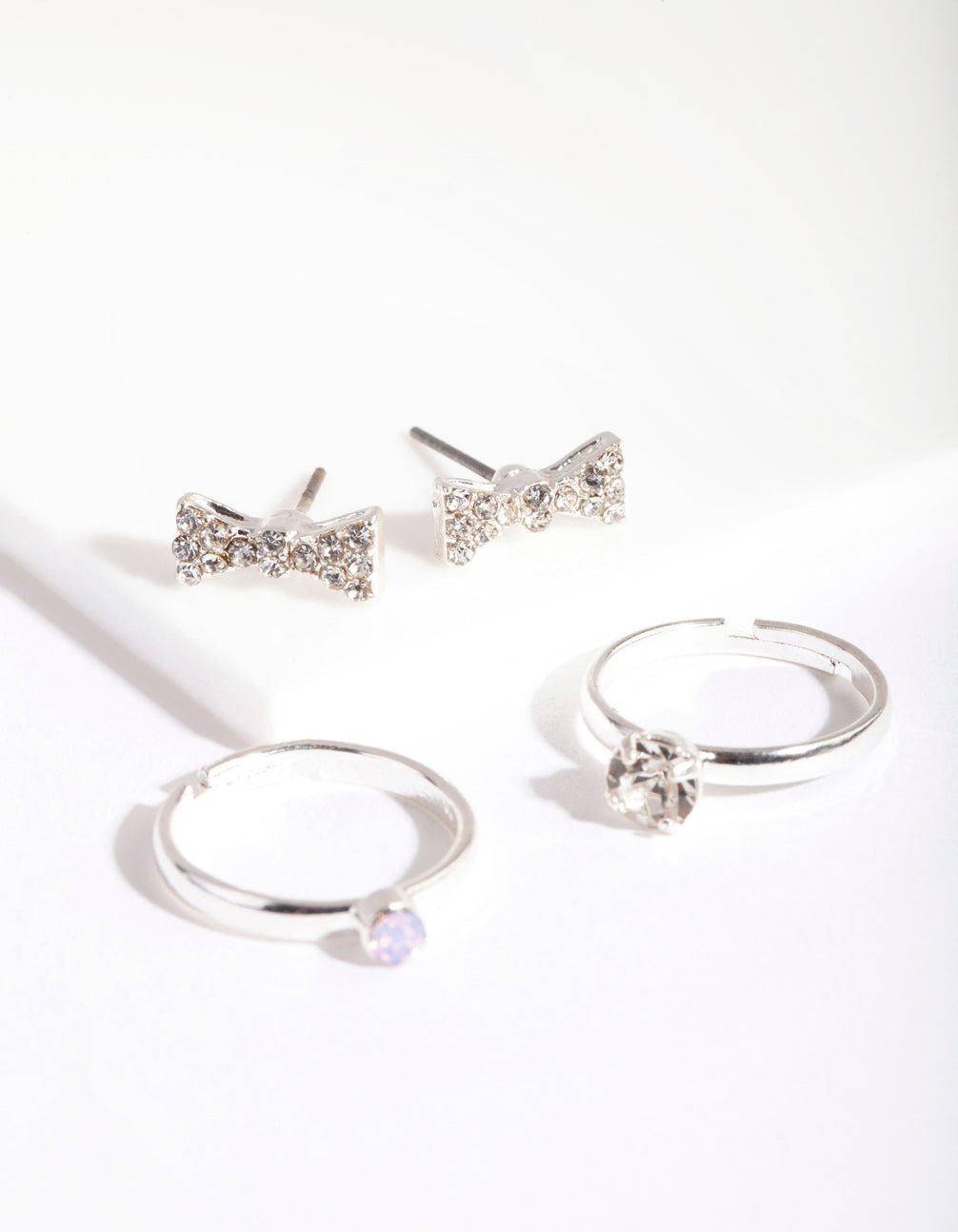 Silver Diamante Bow Earring Ring Pack