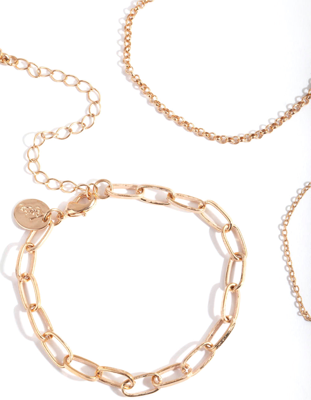 Gold Multi Link Chain Bracelet 3 Pack
