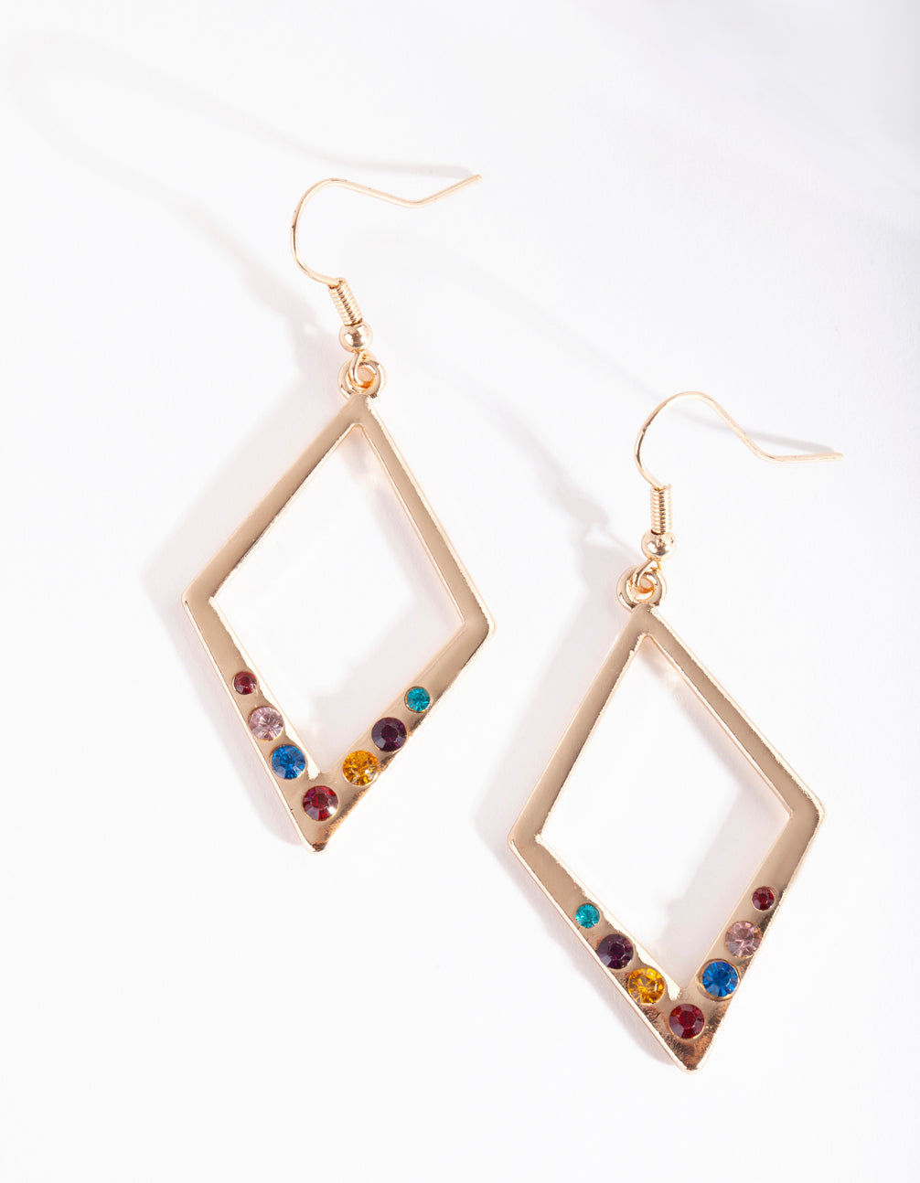 Gold Diamond Diamante Drop Earrings