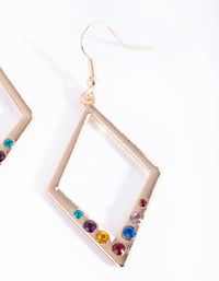 Gold Diamond Diamante Drop Earrings - link has visual effect only