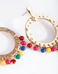 Gold Multicoloured Bead Round Drop Earrings - link has visual effect only