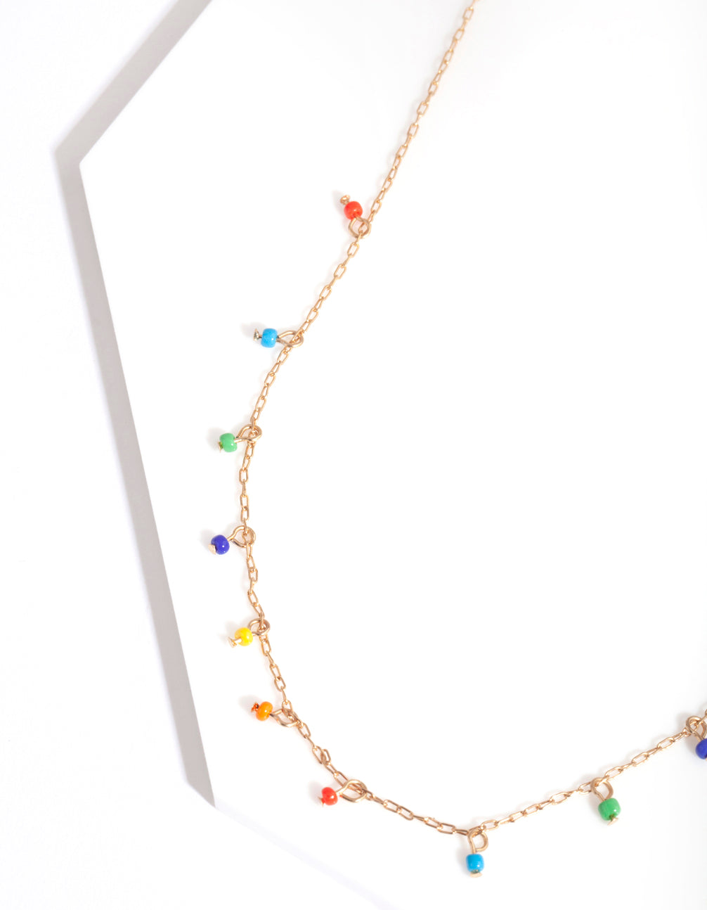 Gold Multicoloured Bead Necklace