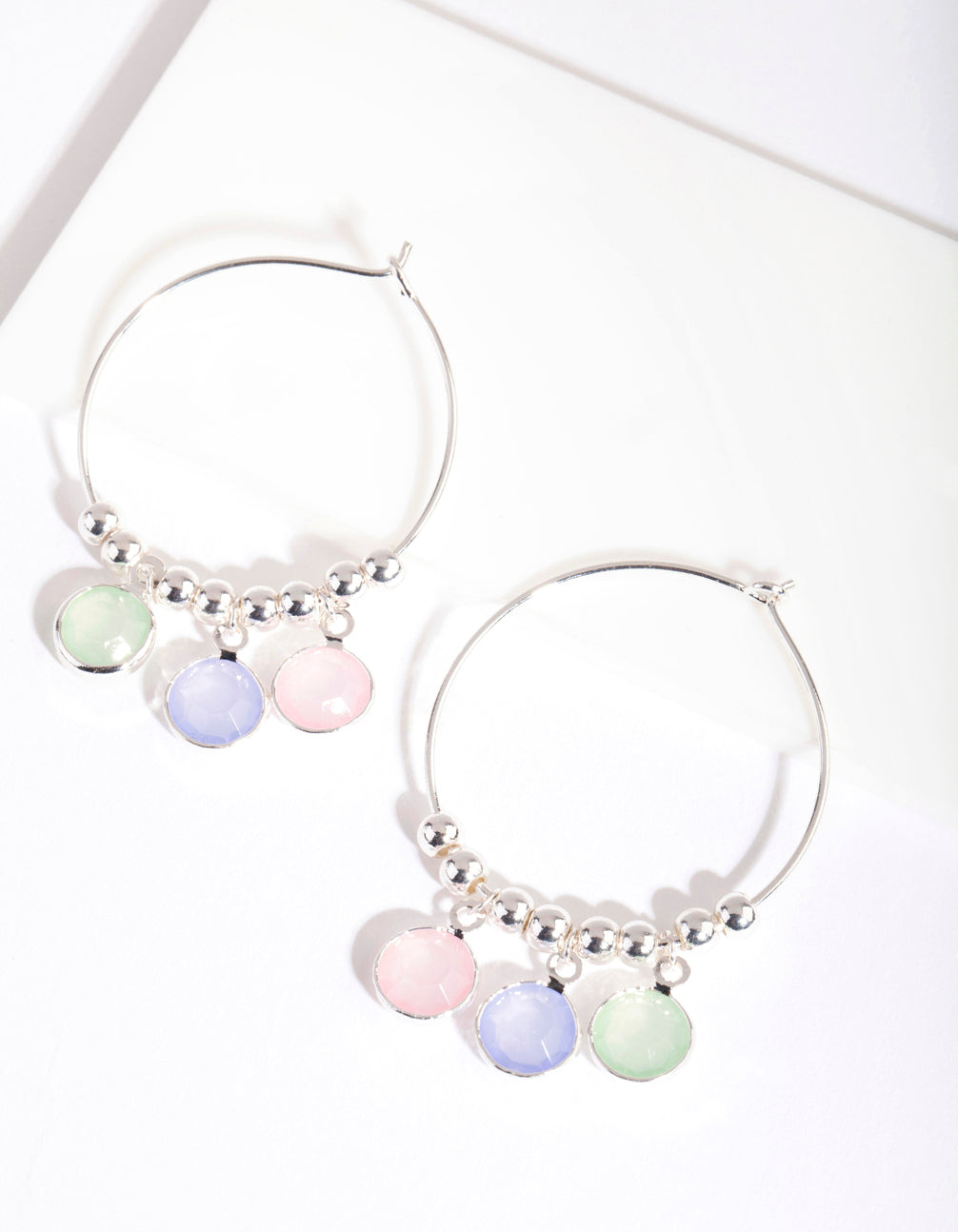 Silver Pastel Stone Hoop Earrings