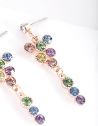 Rose Gold Circle Diamante Drop Earring - link has visual effect only