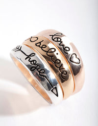 Mixed Metal Cute Word 3 Stack Ring Pack - link has visual effect only