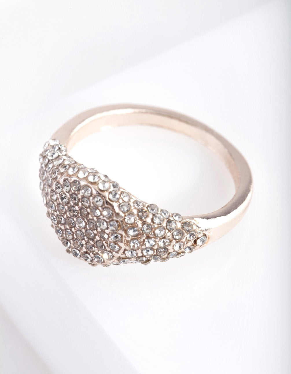 Rose Gold Pave Diamante Signet Ring