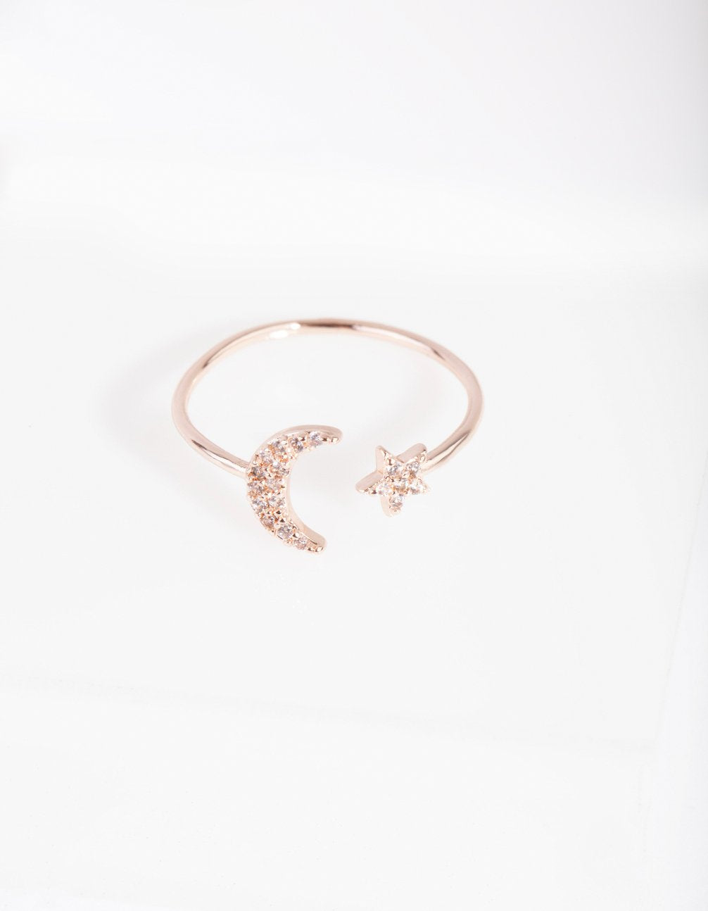 Rose Gold Cubic Zirconia Moon & Star Ring