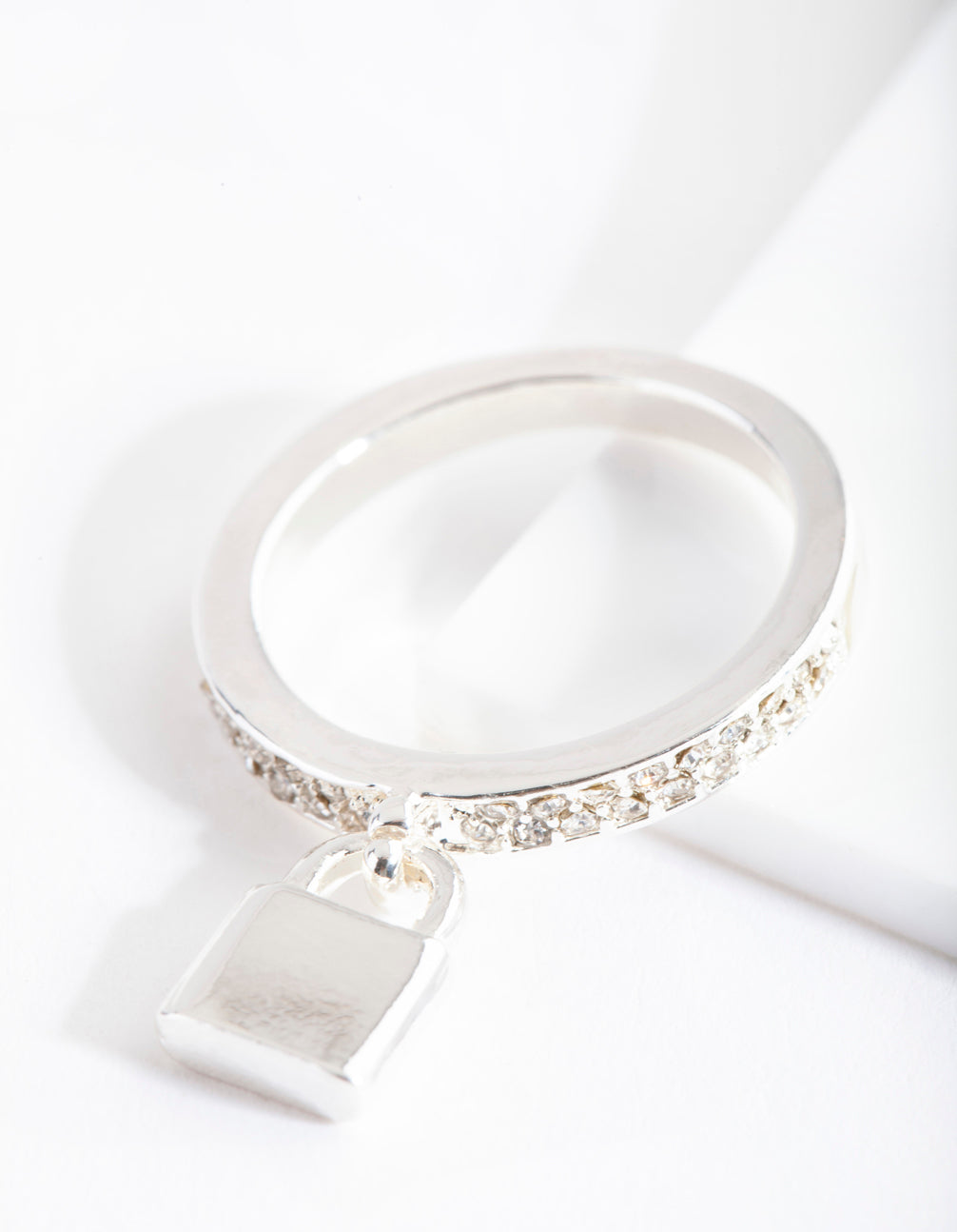 Silver Diamante Band Padlock Ring
