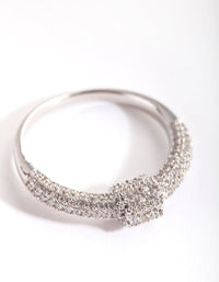 Rhodium Cubic Zirconia Barbell Ring - link has visual effect only
