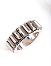 Rhodium Baguette Band Ring - link has visual effect only