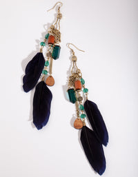 Antique Gold Chain Feather Bead Drop Earring - link has visual effect only