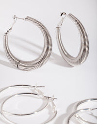 Silver Thick Hoop 3 Pack - link has visual effect only