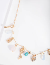 Gold Semi Precious Lock Charm Necklace - link has visual effect only