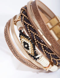 Tan Multi Strand Cuff Bracelet - link has visual effect only