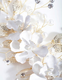 White Flower Crystal Clip - link has visual effect only