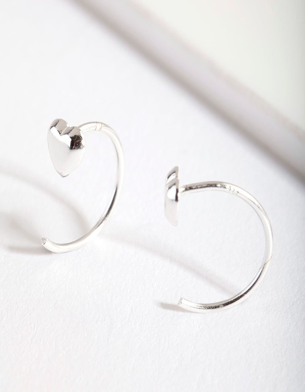 Sterling Silver Heart Pull Through Hoop Earring